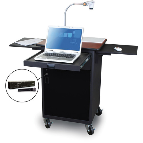 Marvel Vizion Mobile Presentation Cart With Acrylic Door and Handheld Microphone (Cherry Laminate)
