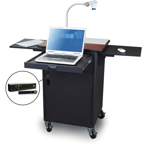 Marvel Vizion Mobile Presentation Cart With Steel Door and Handheld Microphone (Cherry Laminate)