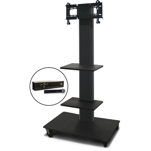 """Marvel 55"""" Vizion TV/Monitor Stand and Mount with Two Shelves and AmpliVox Handheld Microphone (Charcoal Gray)"""