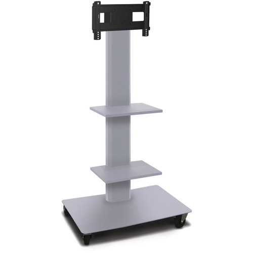 "Marvel 55"" High Mobile Stand for 26-32"" Flat Panel Monitor (Silver, 2 Accessory Shelves)"
