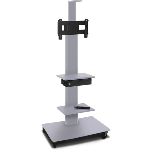 "Marvel 55"" High Mobile Stand w/Sound System for 26-32"" Flat Panel Monitor (Silver, 2 Accessory, 1 Cam Shelf)"