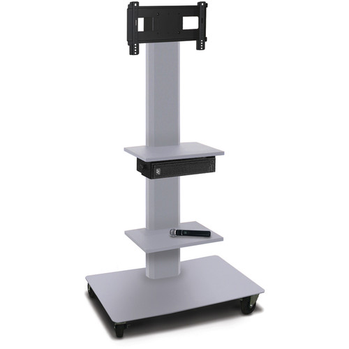 "Marvel 55"" High Mobile Stand w/Sound System for 26-32"" Flat Panel Monitor (Silver, 2 Accessory Shelves)"