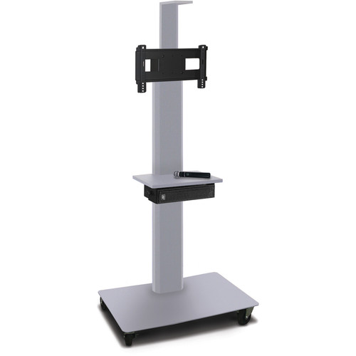 """Marvel 55"""" High Mobile Stand w/Sound System for 26-32"""" Flat Panel Monitor (Silver, 1 Accessory, 1 Cam Shelf)"""