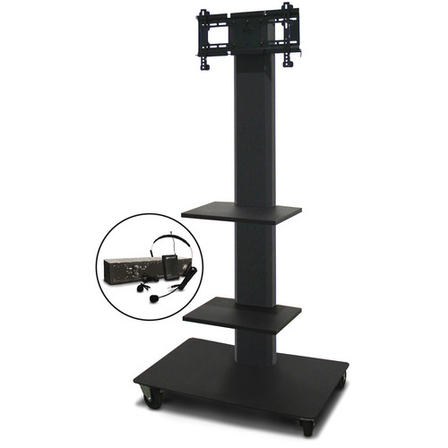 "Marvel 65"" Vizion TV/Monitor Stand and Mount for a 26 to 32"" TV with AmpliVox Wireless 16 Channel UHF Over-Ear Headset and Two Accessory Shelves (Charcoal Gray)"