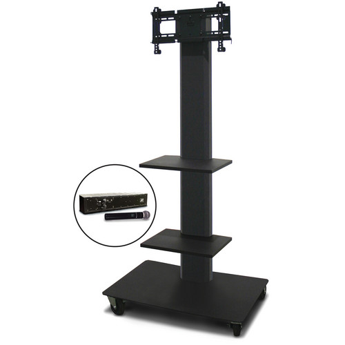 "Marvel 65"" Vizion TV/Monitor Stand and Mount for a 26 to 32"" TV with AmpliVox Wireless 16 Channel Handheld Microphone and Two Accessory Shelves (Charcoal Gray)"