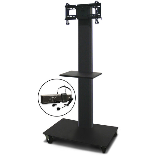 "Marvel 65"" Vizion TV/Monitor Stand and Mount for a 26 to 32"" TV with AmpliVox Wireless 16 Channel UHF Over-Ear Headset and One Accessory Shelf (Charcoal Gray)"