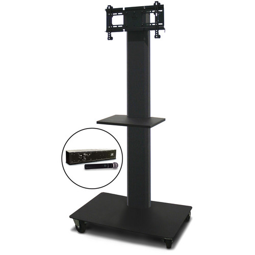 "Marvel 65"" Vizion TV/Monitor Stand and Mount for a 26 to 32"" TV with AmpliVox Wireless 16 Channel Handheld Microphone and One Accessory Shelf (Charcoal Gray)"