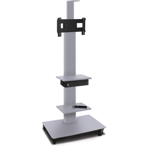 """Marvel 65"""" High Mobile Stand w/Sound System for 26-32"""" Flat Panel Monitor (Silver, 2 Accessory, 1 Cam Shelf)"""