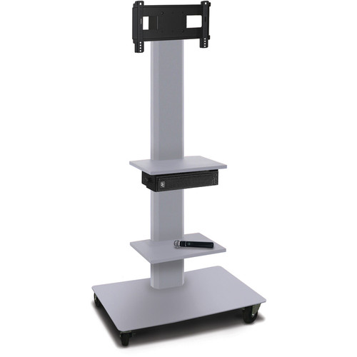 "Marvel 65"" High Mobile Stand w/Sound System for 26-32"" Flat Panel Monitor (Silver, 2 Accessory Shelves)"
