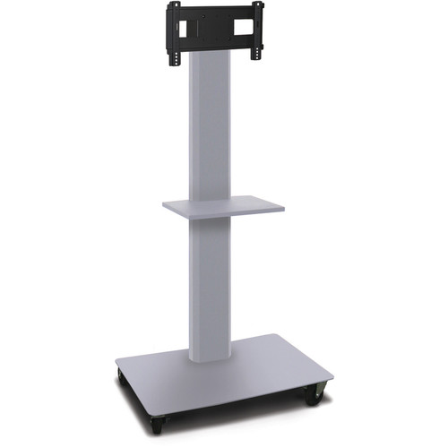 """Marvel 65"""" High Mobile Stand for 26-32"""" Flat Panel Monitor (Silver, Accessory Shelf)"""