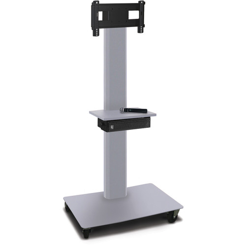 "Marvel 65"" High Mobile Stand w/Sound System for 26-32"" Flat Panel Monitor (Silver, Accessory Shelf)"