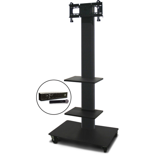 "Marvel 80"" Vizion TV/Monitor Stand and Mount for a 26 to 32"" TV with AmpliVox Wireless 16 Channel Handheld Microphone and Two Accessory Shelves (Charcoal Gray)"