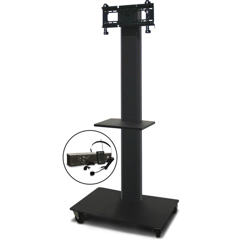 """Marvel 80"""" Vizion TV/Monitor Stand and Mount for a 26 to 32"""" TV with AmpliVox Wireless 16 Channel UHF Over-Ear Headset and One Accessory Shelf (Charcoal Gray)"""