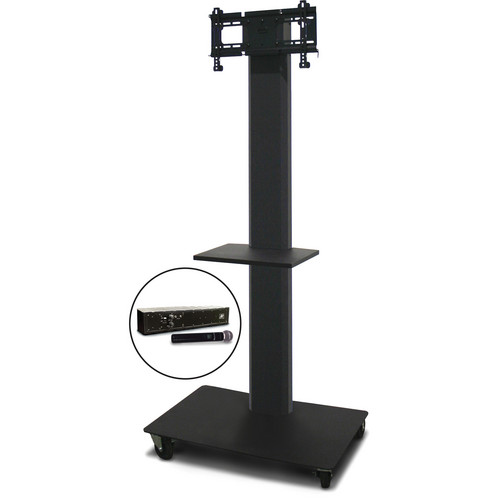 """Marvel 80"""" Vizion TV/Monitor Stand and Mount for a 26 to 32"""" TV with AmpliVox Wireless 16 Channel Handheld Microphone and One Accessory Shelf (Charcoal Gray)"""