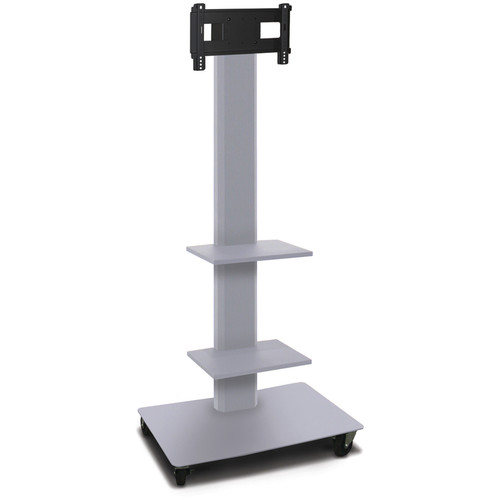 "Marvel 80"" High Mobile Stand for 26-32"" Flat Panel Monitor (Silver, 2 Accessory Shelves)"