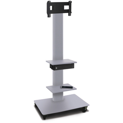 "Marvel 80"" High Mobile Stand w/Sound System for 26-32"" Flat Panel Monitor (Silver, 2 Accessory Shelves)"