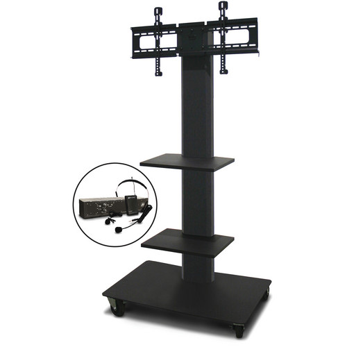 "Marvel 55"" Vizion TV/Monitor Stand and Mount with Two Shelves and AmpliVox Over-Ear Headset Microphone (Charcoal Gray)"