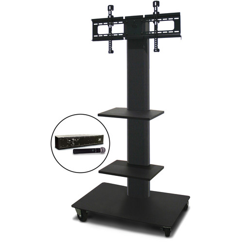 "Marvel 55"" Vizion TV/Monitor Stand and Mount with Two Shelves and AmpliVox Handheld Microphone (Charcoal Gray)"
