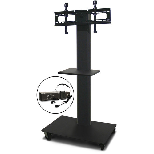 "Marvel 55"" Vizion TV/Monitor Stand and Mount with One Shelf and AmpliVox Over-Ear Headset Microphone (Charcoal Gray)"