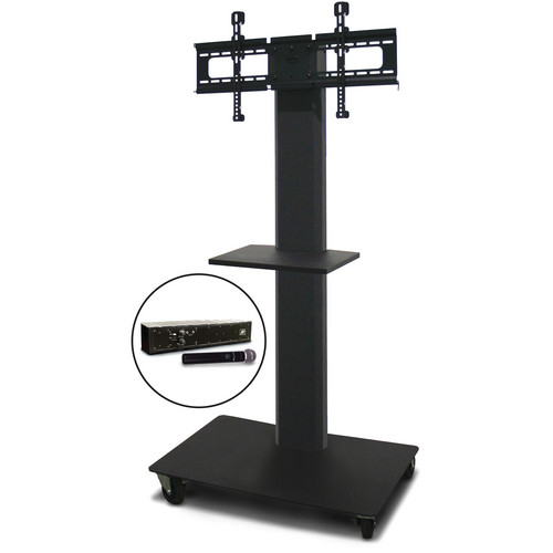 "Marvel 55"" Vizion TV/Monitor Stand and Mount with One Shelf and AmpliVox Handheld Microphone (Charcoal Gray)"