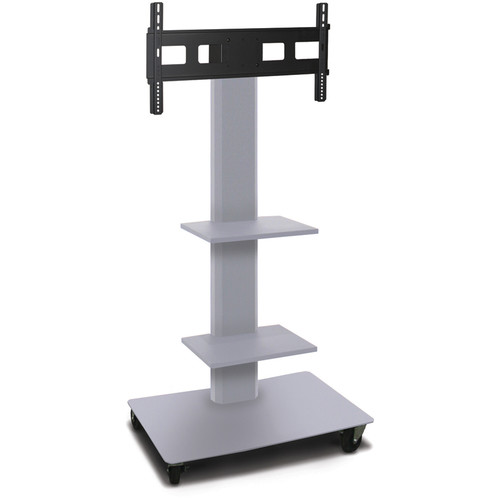 "Marvel 55"" High Mobile Stand for 35-55"" Flat Panel Monitor (Silver, 2 Accessory Shelves)"