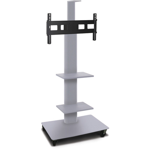 "Marvel 55"" High Mobile Stand for 35-55"" Flat Panel Monitor (Silver, 2 Accessory, 1 Cam Shelf)"