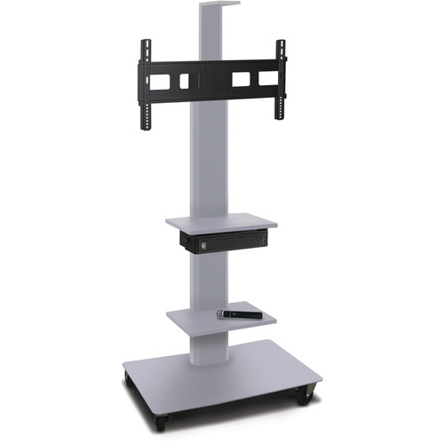 "Marvel 55"" High Mobile Stand w/Sound System for 35-55"" Flat Panel Monitor (Silver, 2 Accessory, 1 Cam Shelf)"