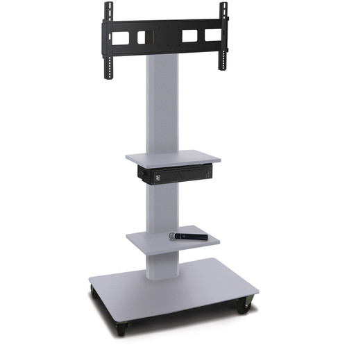 "Marvel 55"" High Mobile Stand w/Sound System for 35-55"" Flat Panel Monitor (Silver, 2 Accessory Shelves)"