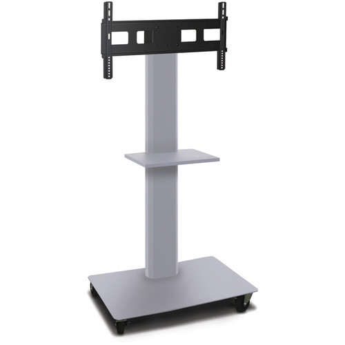 "Marvel 55"" Vizion Mobile Stand for 35-55"" TVs, Monitors with a Shelf (Matte Silver)"