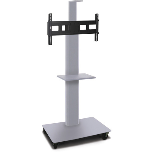 """Marvel 55"""" High Mobile Stand for 35-55"""" Flat Panel Monitor (Silver, 1 Accessory & 1 Cam Shelf)"""