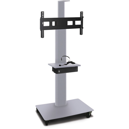 "Marvel 55"" High Mobile Stand w/Sound System for 35-55"" Flat Panel Monitor (Silver, 1 Accessory, 1 Cam Shelf)"