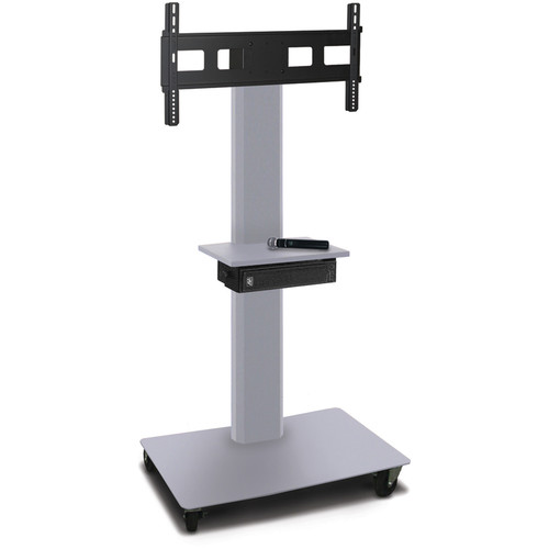 "Marvel 55"" High Mobile Stand w/Sound System for 35-55"" Flat Panel Monitor (Silver, 1 Accessory Shelf)"