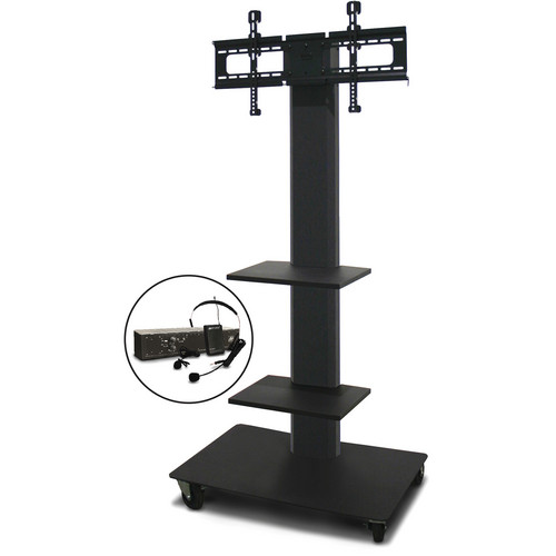 "Marvel 65"" Vizion TV/Monitor Stand and Mount with Two Shelves and AmpliVox Over-Ear Headset Microphone (Charcoal Gray)"