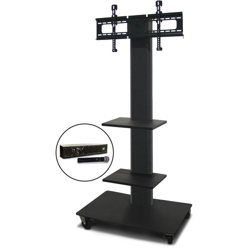 "Marvel 65"" Vizion TV/Monitor Stand and Mount with Two Shelves and AmpliVox Handheld Microphone (Charcoal Gray)"