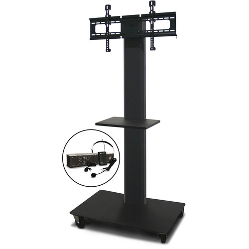 "Marvel 65"" Vizion TV/Monitor Stand and Mount with One Shelf and AmpliVox Over-Ear Headset Microphone (Charcoal Gray)"