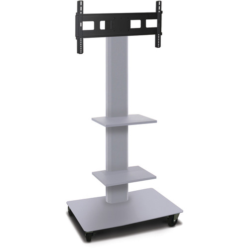"Marvel 65"" High Mobile Stand for 26-32"" Flat Panel Monitor (Silver, 2 Accessory Shelves)"