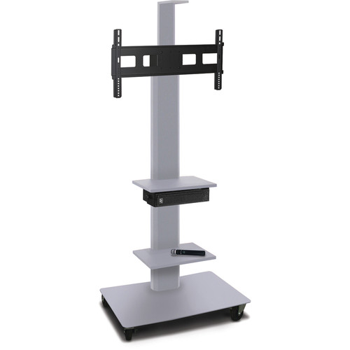 """Marvel 65"""" High Mobile Stand w/Sound System for 35-55"""" Flat Panel Monitor (Silver, 2 Accessory, 1 Cam Shelf)"""