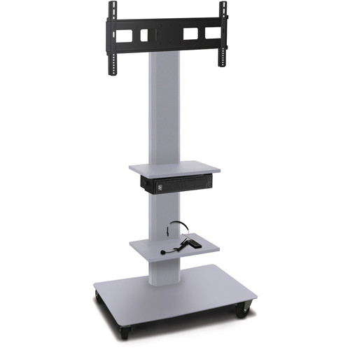 "Marvel 65"" High Mobile Stand w/Sound System for 35-55"" Flat Panel Monitor (Silver, 2 Accessory Shelves)"