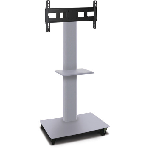 "Marvel 65"" Vizion Mobile Stand for 35-55"" TV or Monitor with a Shelf (Matte Silver)"