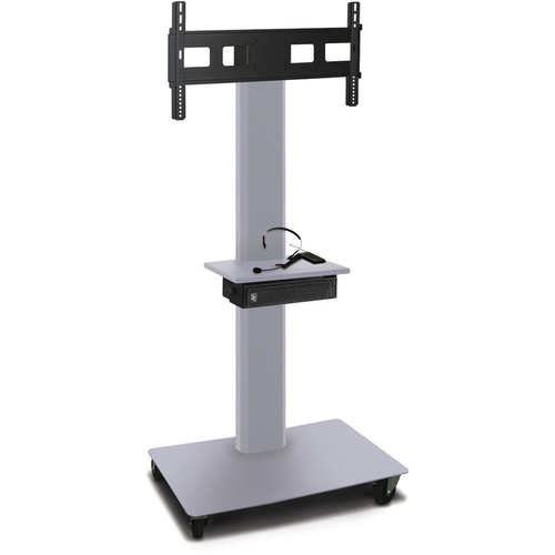 "Marvel 65"" High Mobile Stand w/Sound System for 35-55"" Flat Panel Monitor (Silver, Accessory Shelf)"