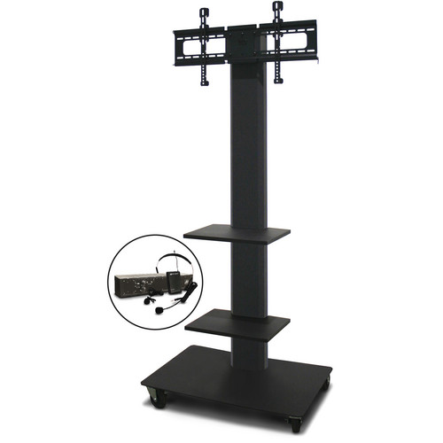 """Marvel 80"""" Vizion TV/Monitor Stand and Mount with Two Shelves and AmpliVox Over-Ear Headset Microphone (Charcoal Gray)"""
