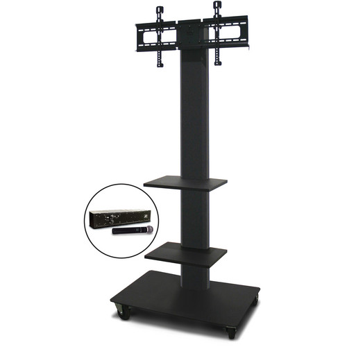 "Marvel 80"" Vizion TV/Monitor Stand and Mount with Two Shelves and AmpliVox Handheld Microphone (Charcoal Gray)"