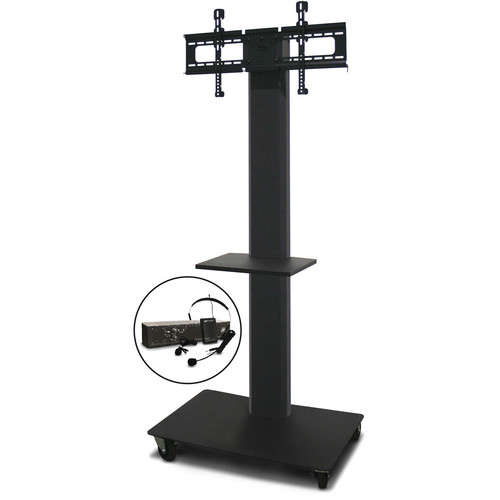 """Marvel 80"""" Vizion TV/Monitor Stand and Mount with One Shelf and AmpliVox Over-Ear Headset Microphone (Charcoal Gray)"""