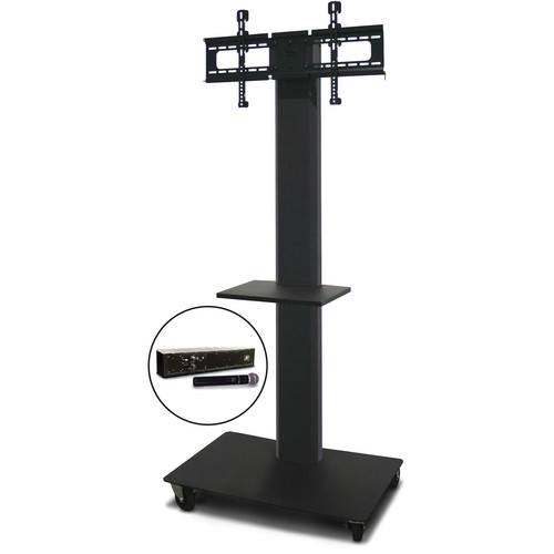 "Marvel 80"" Vizion TV/Monitor Stand and Mount with One Shelf and AmpliVox Handheld Microphone (Charcoal Gray)"