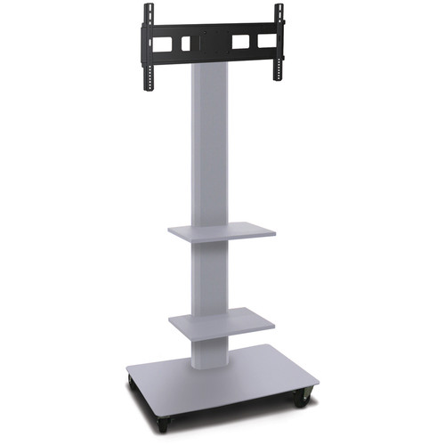 "Marvel 80"" High Mobile Stand for 35-55"" Flat Panel Monitor (Silver, 2 Accessory Shelves)"