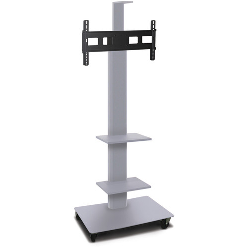 "Marvel 80"" High Mobile Stand for 35-55"" Flat Panel Monitor (Silver, 2 Accessory, 1 Cam Shelf)"