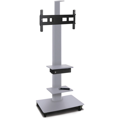 "Marvel 80"" High Mobile Stand w/Sound System for 35-55"" Flat Panel Monitor (Silver, 2 Accessory, 1 Cam Shelf)"