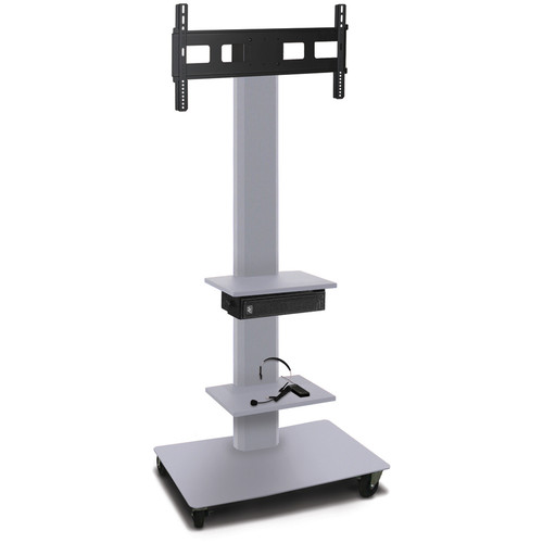 "Marvel 80"" High Mobile Stand w/Sound System for 35-55"" Flat Panel Monitor (Silver, 2 Accessory Shelves)"