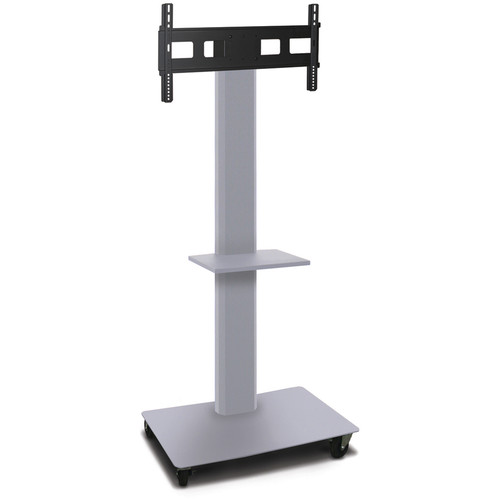 "Marvel 80"" Vizion Mobile Stand for 35-55"" TV or Monitor with a Shelf (Matte Silver)"