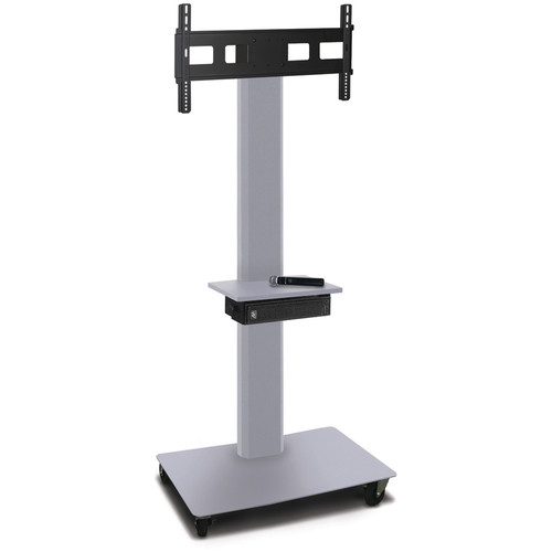 "Marvel 80"" High Mobile Stand w/Sound System for 35-55"" Flat Panel Monitor (Silver, Accessory Shelf)"